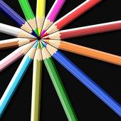 Kleurpotloden of kleurpotloden geïsoleerd op zwarte achtergrond — Stockfoto