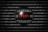 Binary code with PHP and magnifying lens — Stock Photo