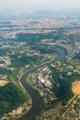 View from the airplane on the city of Prague and river Vltava — Stock Photo