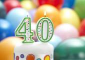 Candle number shape with balloons — Stock Photo