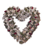 Christmas Wreath heart shape — Stock Photo