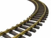 Rail track isolated on a white — Stock Photo