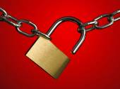 Security lock and chains — Stock Photo
