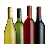 Wine bottles in a group — Stock Photo