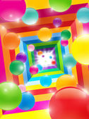 Colored balls in a color tunnel — Stock Photo