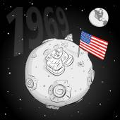 Astronaut whith flag USA on the moon bw — Stock Vector