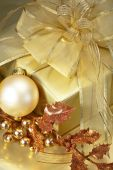 Gold Christmas gift boxes — Stock Photo