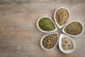 An assortment of loose dried Green Teas — Stock Photo