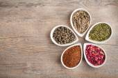 A colorful assortment of loose teas in petal — Stock Photo