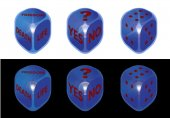 Conceptual dice set on black and white background — Vector de stock