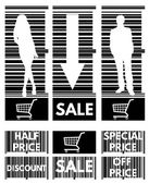 Set of labels for the stock sales on the background of the bar c — Stock Vector