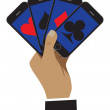The smartphone is shown as playing cards. Business is shown as a — Stock Vector #75870465