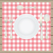 Table setting, etiquette. Plate, fork, spoon, knife, table-napki — Stock Vector
