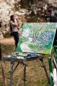 Painting on a tripod outdoor — Fotografia Stock