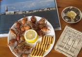 Italian food: moeche with polenta — Stock Photo