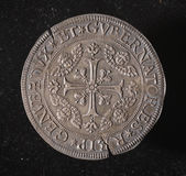 Ancient silver coin of republic of genoa italy — Stock Photo