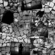 Mosaic collage mix travel in summer 2015 with pictures of different places, landscapes and objects shot by myself textured black and white — Stock Photo #83314354
