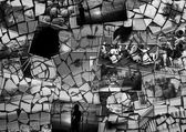 Mosaic collage mix travel in summer 2015 with pictures of different places, landscapes and objects shot by myself textured black and white — Stock Photo