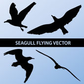 Set of silhouette seagull flying 4 in 1 on blue sky background. Vector illustration — Stock Vector