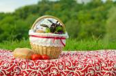 Decorated picnic basket with plate, buns and bunch of basil and salad, tomatoes on red tablecloth, green landscape — Stock Photo