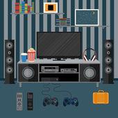 Vector illustration apartment with a home cinema. Illustration f — ストックベクタ