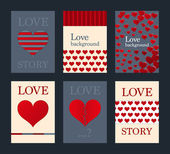 Vector illustration of a set of brochures with hearts — Stock Vector