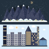 Vector illustration of a flat design with city, mountain — Stock Vector