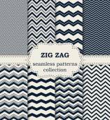 Vector illustration of a set of seamless patterns zig zag — Stock Vector