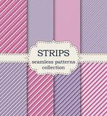 Vector illustration set of seamless patterns strips — Stock Vector