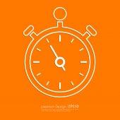 Stock Vector Linear icon stopwatch. Flat design — Stock Vector