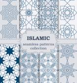Vector illustration of a set of seamless patterns Islamic — Stock Vector