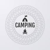 Vector illustration. Logo Camping with lines — Stock Vector