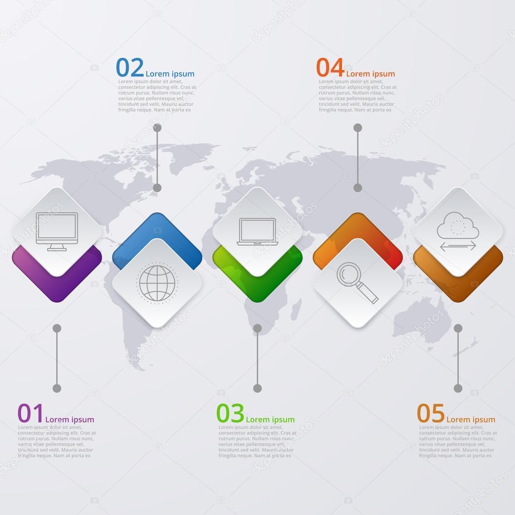 世界地图矢量图的信息图表时间线
