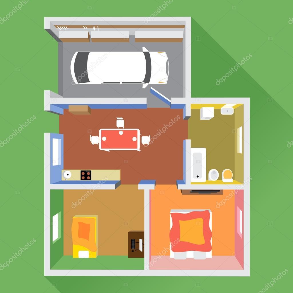 Uma casa com um carro na garagem um banheiro uma cozinha for Sala de estar vista desde arriba