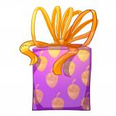 Purple gift box with yellow bow. — Stock Photo