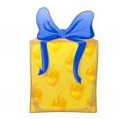 Yellow gift box with blue bow — Stock Photo