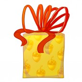 Yellow gift box with red bow. — Stock Photo
