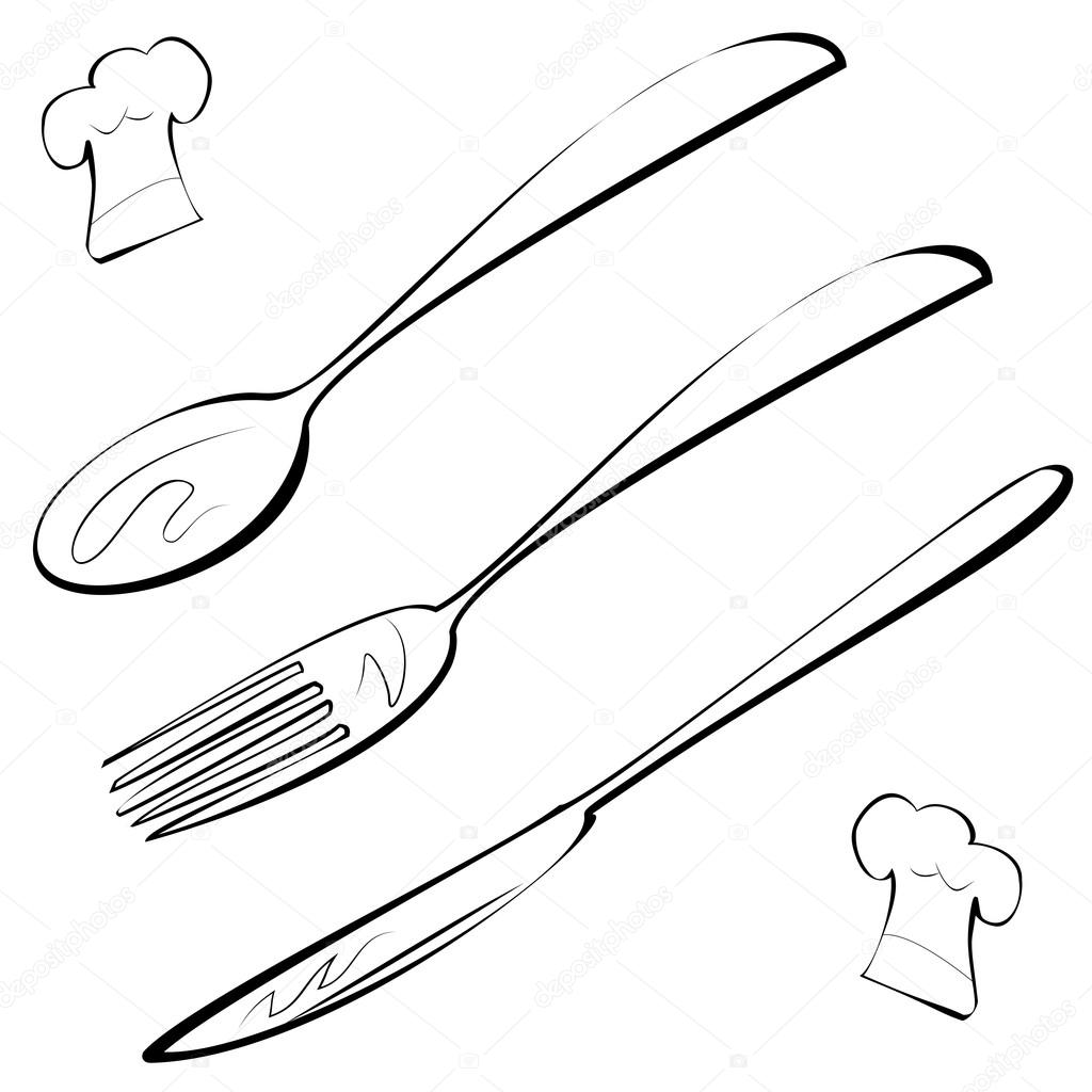Line Drawing Knife And Fork : Line art cutlery fork knife spoon and chef hat — stock