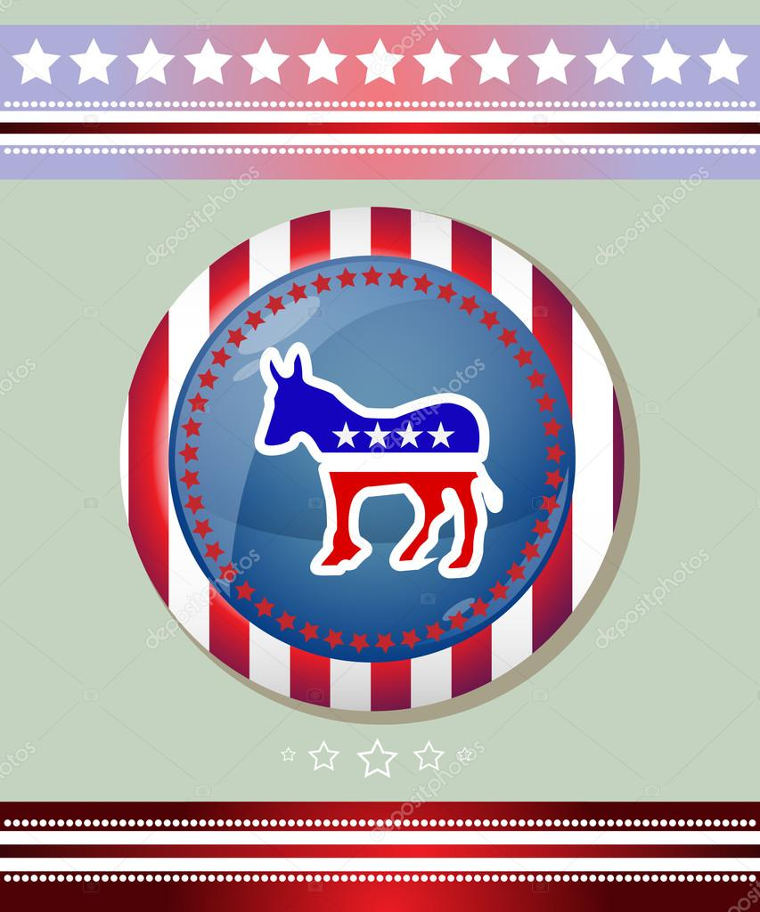 Usa Democratic Party Donkey Symbol Banner — Stock Vector ...