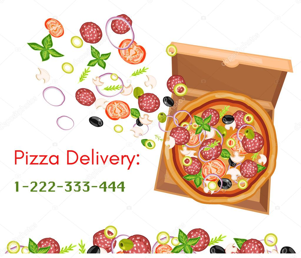 Pizza delivery pizza box top view isolated on white — Stock Vector ...