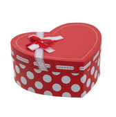 Heart shaped gift box with a ribbon — Stock Photo