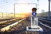 在火车站的交通灯 — 图库照片