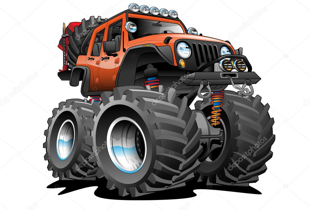 4x4 Off Road Jeep Cartoon Illustration Stock Vector