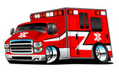 Red Paramedic Ambulance Rescue Truck Illustration — Stock Vector