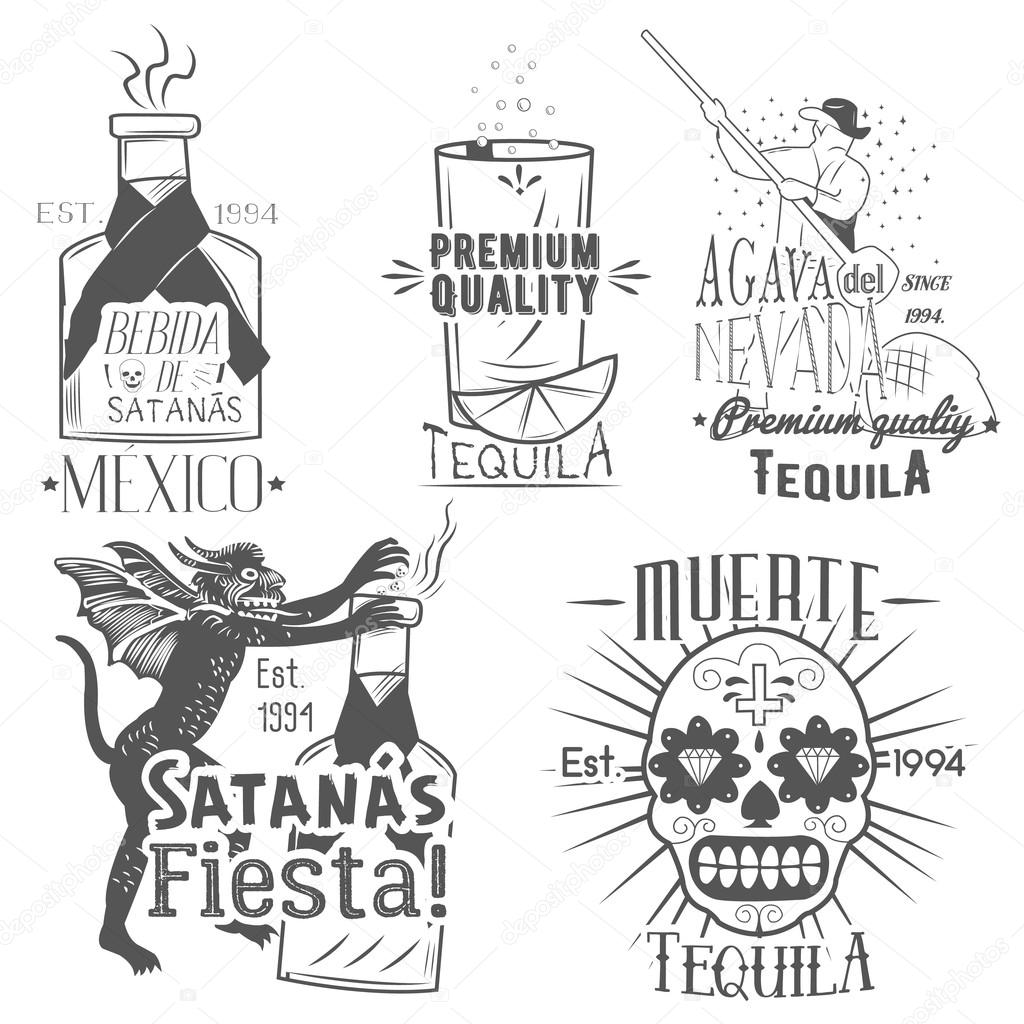 Vector Set Of Tequila Labels In Vintage Style Mexican
