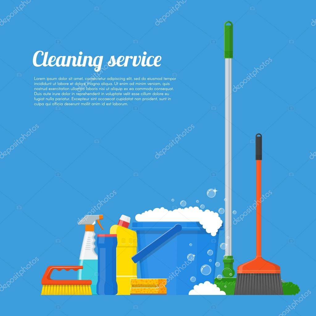 Poster design service - Poster Design Tools Cleaning Service Company Concept Vector Illustration House Cleaning Tools Poster Design In