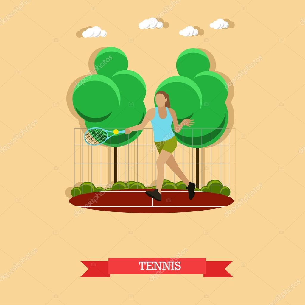 Tenis pelota stock de ilustracion ilustracion libre de stock de - Ilustraci N De Vector De Tenista Femenina Hacer Derecha En La Cancha Al Aire Libre Deportista Entrena Movimientos Con Pelota Y Raqueta De Tenis