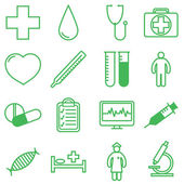 Medical icons set. Vector illustration in linear (flat) design. — Stock Vector