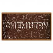 School board doodle with chemistry symbols. Vector illustration — Stok Vektör