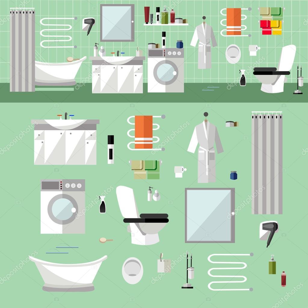 Interior de cuarto de ba o con muebles ilustraci n de - Muebles de cuarto de bano de diseno ...